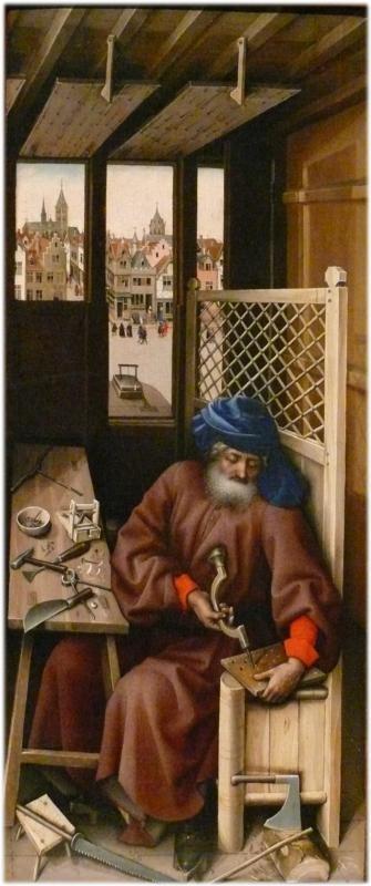 Robert Campin, Detail, Merode Altarpiece - Joseph as a Carpenter, c. 1425 - 1428