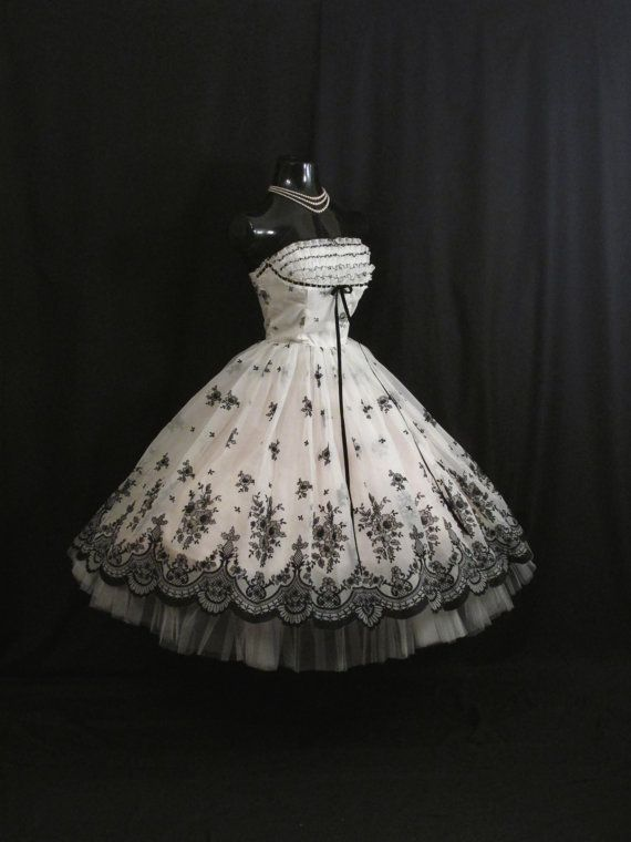 Vintage 1950's 50s STRAPLESS Bombshell Black White Floral Flocked Velvet Chiffon Organza Party Prom Wedding DRESS
