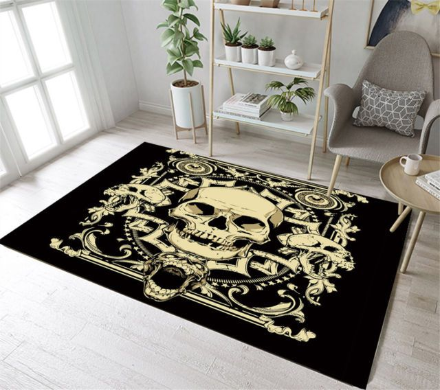 Retro Gothic Skull Home Decor Bedroom Carpet Anti Slip Room Floor
