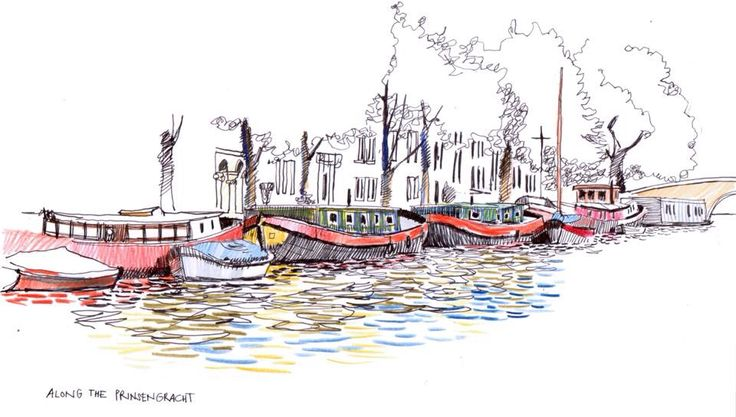 Prinzengracht canal, Amsterdam. Ink and crayon drawing. © Eric Gaskell 2016