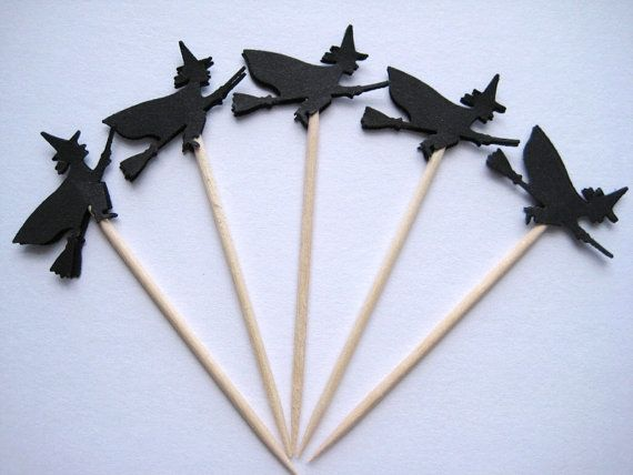 24 Black Witch Party Picks - Cupcake Toppers - Toothpicks - Food Picks - die cut punch FP265 on Etsy, $4.99