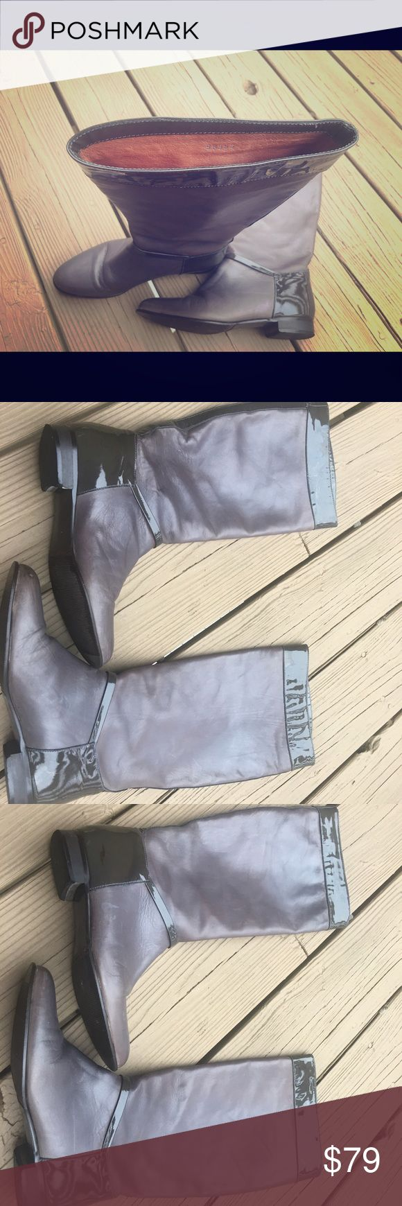 J.Crew Collection Italian Grey Leather Boots Only wore twice. Excellent condition. Size 6.5. J.Crew Collection. Made in Italy. Pull-on boots. All leather, leather upper and lining. Grey leather with grey patent leather trimming. J. Crew Shoes Heeled Boots