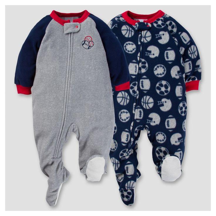 Gerber Baby Boy 2pk Sports Microfleece Zip-Front Footed Blanket Sleepers - Gray 24 M