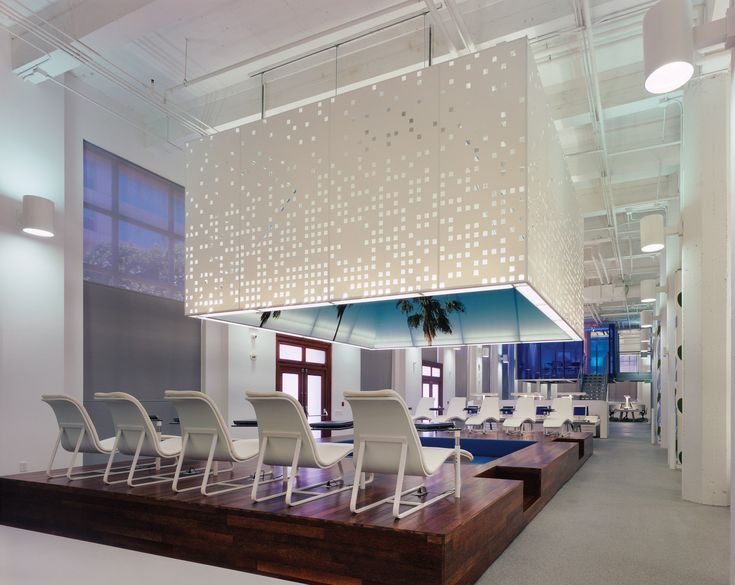 Fabric Clad Boxes Overhead Provide Light And Space Definition