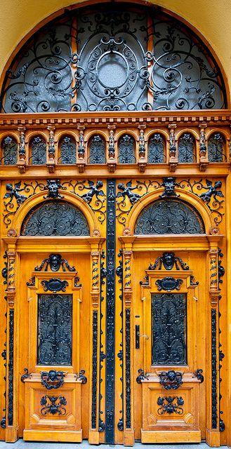 East European yellow door