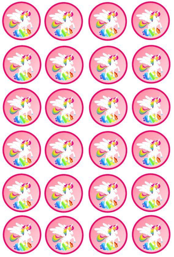 Pin By Miglena Naumova On Suministros Para La Fiesta Rainbow Unicorn Party Bottle Cap Crafts Unicorn Theme Party