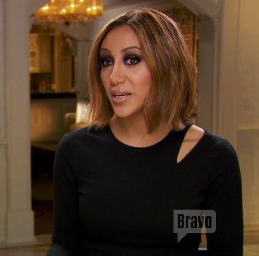 Melissa Gorga's Black Cut Out Shoulder Interview Dress