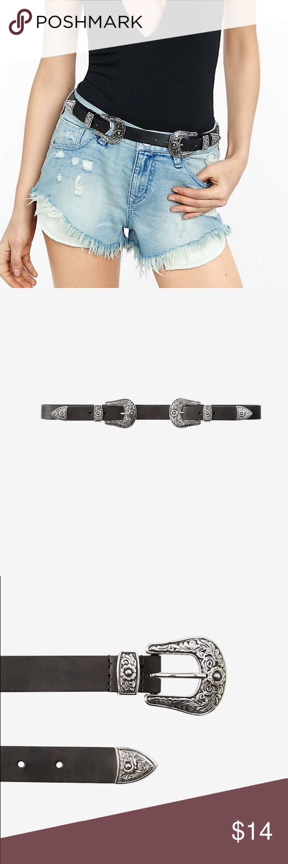 """Express Double Buckle Western Belt - Large Cinch a southwestern look with this western-style double buckle belt. The unique two-piece design comes with an adjustable center section that has two metal tips that slide into opposing buckles and keepers. Great with mid rise or high waisted denim. 1"""" inch wide. Metal/synthetic. Size large. Worn once. Good condition. Smoker free household. Express Accessories Belts"""