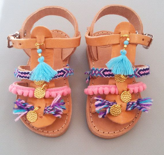 Girls Boho Sandals ''Sugarbabes'', Kids Spartan Sandals, Pom Pom Sandals, Handmade Children Sandals