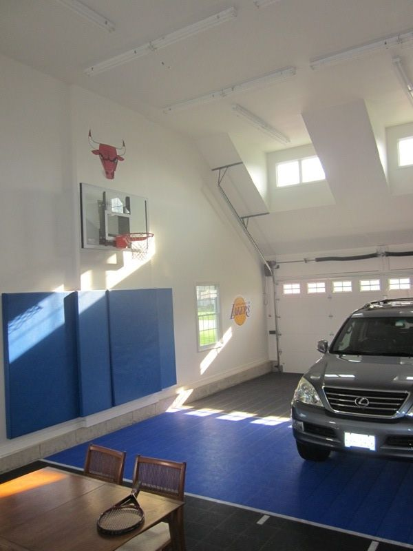 Basketball court in garage not quite a half court most for Basketball hoop inside garage