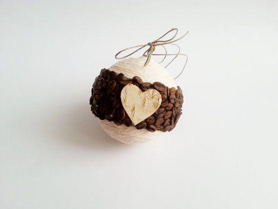 Fragrant christmas tree ornament coffee beans, birch bark heart, linen cord christmas decoration natural rustic decor #crochet #jewelry