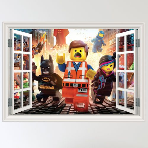 Full Colour Lego Movie Superhero Window Wall Sticker Art & Lego Movie Wall Decals - Elitflat