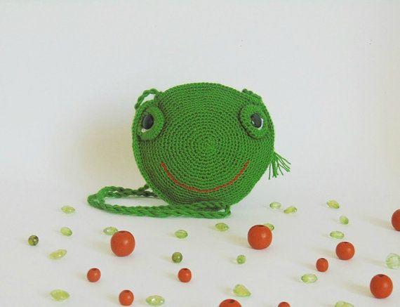 little girl pursecrochet frog purse crochet frog by CrochetKnitt