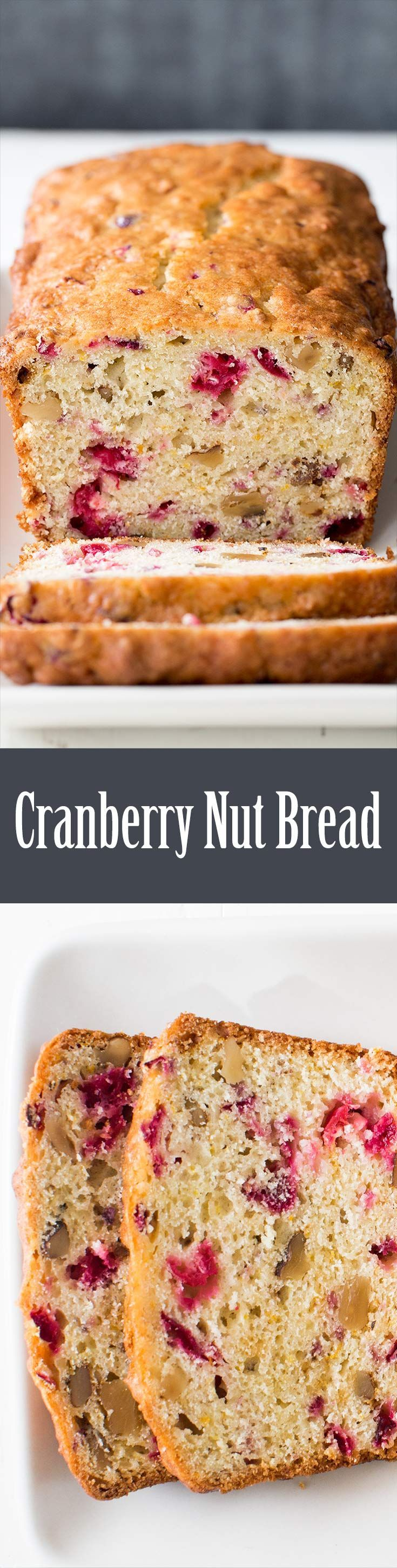 Delicious cranberry nut bread! With chopped cranberries, walnuts, and hints of orange. Perfect for the holidays. On http://SimplyRecipes.com
