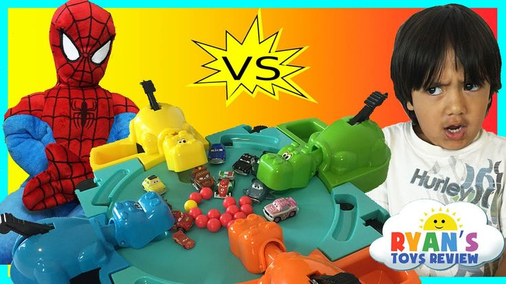 cool Hungry Hungry Hippo eats Disney Cars Micro Drifters Family Fun Game Surprise Egg toys Spiderman
