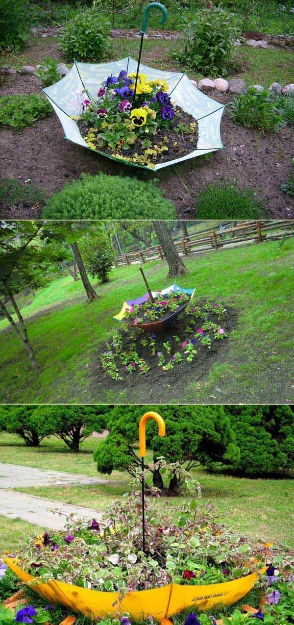 Take the umbrella, turn it upside down and stick it into the ground to transform it to a flower bed.