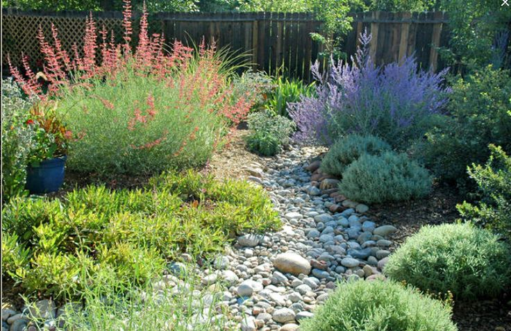 Dry riverbed design. dry river bed landscaping