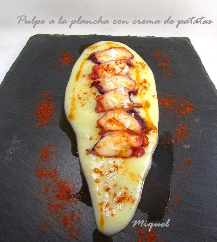 Les receptes del Miquel: Pulpo a la plancha con crema de patatas y tapita en tempura