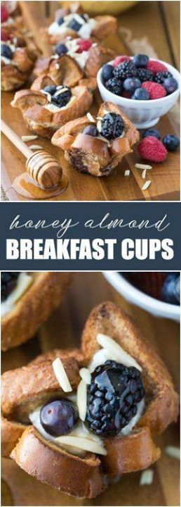 Honey Almond Breakfast mugs - Even the picky eaters loved...  Honey Almond Breakfast mugs - Even the picky eaters loved this Honey Almond Breakfast mugs - Even the picky eaters loved this smooth weekend breakfast recipe! French toast mugs are filled with a sweet creamy ricotta filling and topped with honey berries and slivered almonds. @ItsNutella & Recipe At http://ift.tt/1hGiZgA