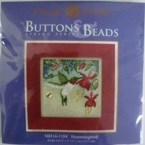 """Mill Hill Bead and Button Spring Series Hummingbird Kit MH14-1104 for ages 9 and up. Kit includes Mill Hill Glass Beads, Mill Hill Ceramic Button, Mill Hill 14 count Painted Perforated Paper, floss, needles, chart, and instructions. Finished design size is 5"""" x 5"""". Frame is NOT included. A Combined Shipping Discount is available within the United States. Due to the cost of international shipping, there will be an additional charge for shipping outside of the United States. Thank you for ..."""