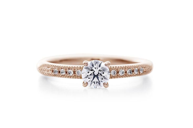 ピンクゴールドのセットリング   cendrillon pg 【エクセルコダイヤモンド】エンゲージリングとマリッジリングをセットで普段使いを意識した指輪