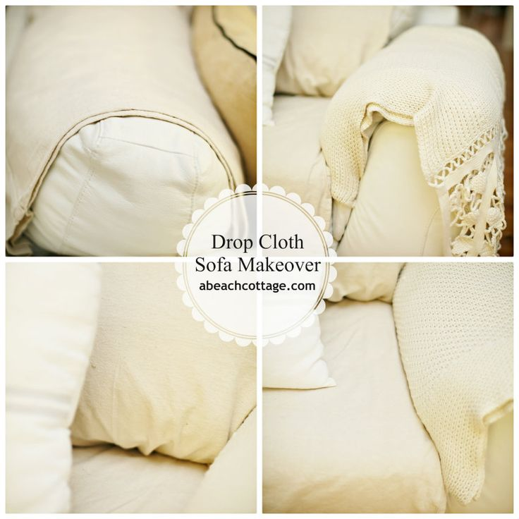 No Sew Sofa Makeover How to Cover a Sofa with fabric / drop cloth « Beach Decor Blog, Coastal Blog, Coastal Decorating