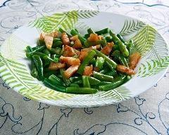 Poêlée de haricots verts aux lardons