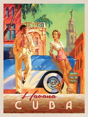 Cuba: Havana Shade - This series of romantic travel art is made from original oil paintings by artist Kai Carpenter. Styled in an Art Deco flair, this adventurous scene is sure to bring a smile and a smooch to any classic poster art lover!<br />