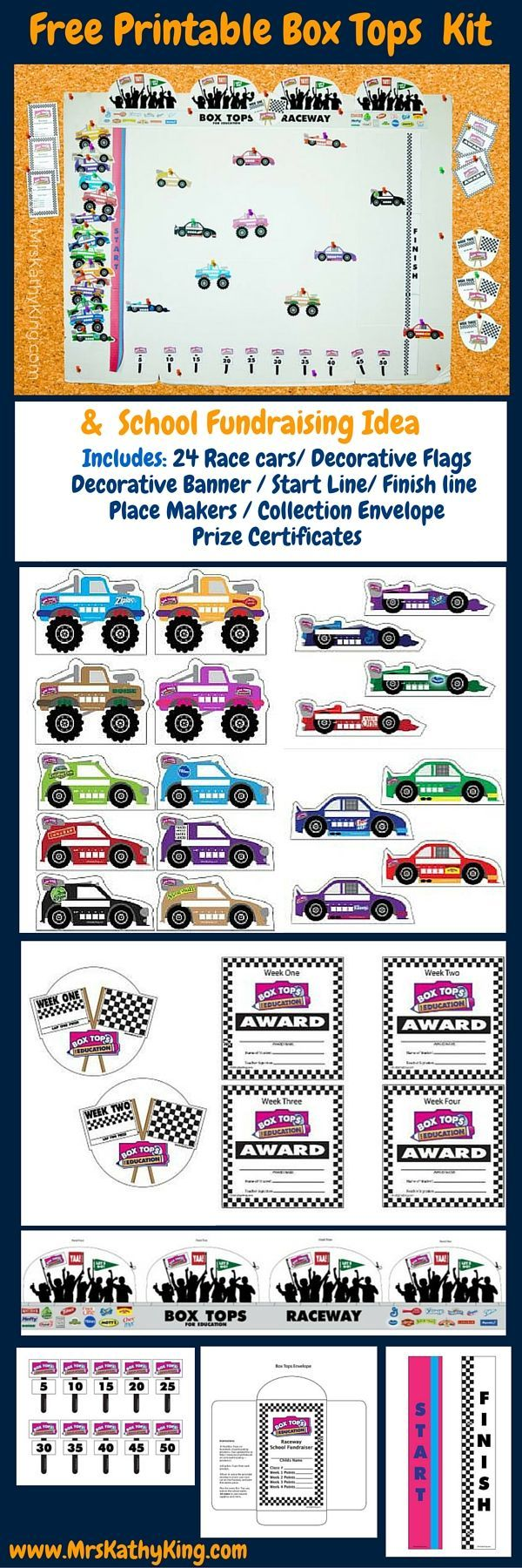 Are you looking for Box Tops For Education School Fundraising Idea that will get the whole class involved? Our Free Printable Box Tops School Fundraising Idea & Kit includes Includes: 24 Race cars/ Decorative Flags Decorative Banner / Start Line/ Finish line Place Makers / Collection Envelope Prize Certificates #BTFE