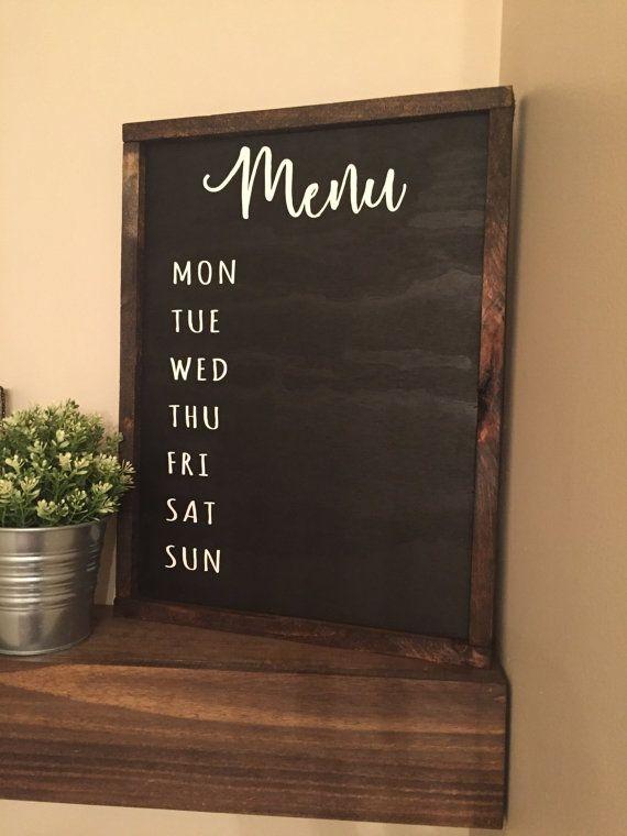 Chalkboard Weekly Menu Wood Sign Menu Sign by HintonSignCoShop