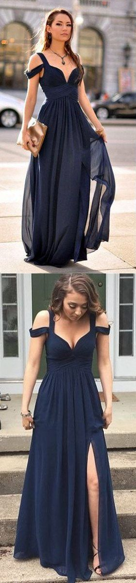 Women Dresses,Elegant Prom Dresses,Evening Gowns,Sweet 16 Dresses,Simple Top Selling Long Navy Blue Chiffon Prom Dresses For Teens,Party Dresses,Modest Prom Gowns,Evening Dresses