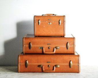 suitcases, luggage set, old luggage, Samsonite hard case luggage set, gorgeous caramel brown, mid century, vintage, 3 piece set