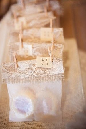 Cute burlap, lace & glassine bag favor