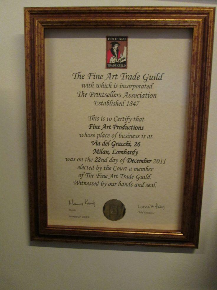 certificazione Fine Art trade Guild (UK) #fatg