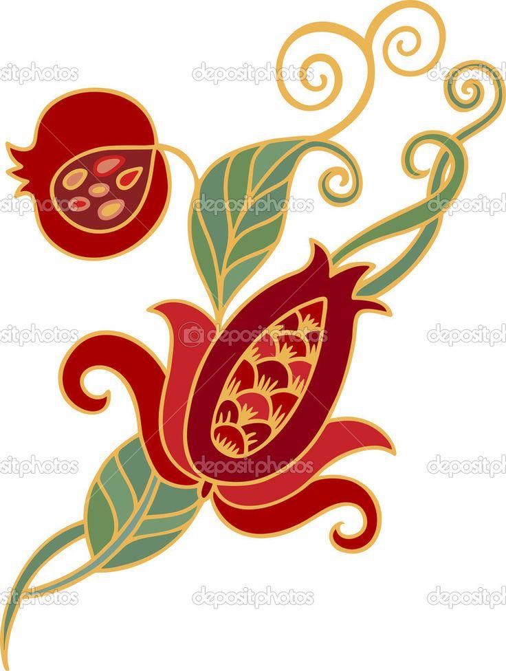 Branch of pomegranate - Стоковая иллюстрация: 59270347