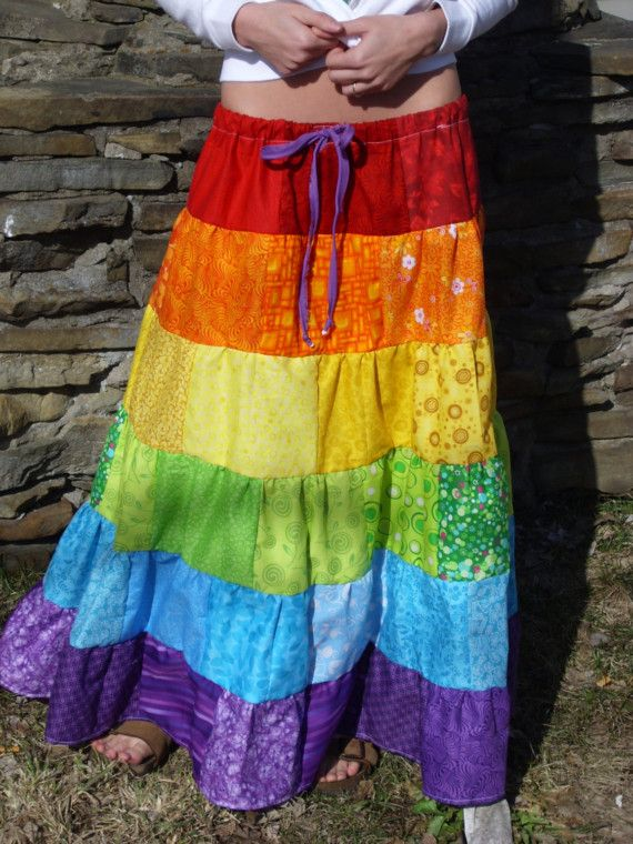 This gorgeous skirt was truly a labor of love. It has over 100 patches of the best, brightest fabric I could find! This tiered skirt has 5 levels, making it the best skirt for spinning and dancing EVER! This is definitely a MUST HAVE for festivals this summer.    *Light weight, so it wont sag.    *Elastic and drawstring waist for extra support!    Waist: Up to 50 inches    Length: 34 inches