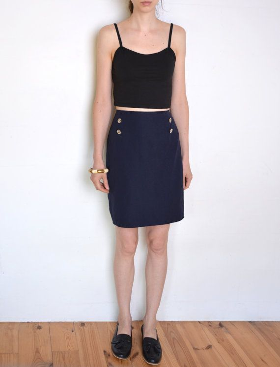 90's faux suede navy blue pencil skirt navy by WoodhouseStudios