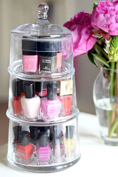 This tiered candy jar is a chic way to keep your polish organized. You can even try grouping each tier by color!