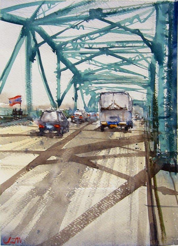 Watercolor International II, Memorial Bridge by Chanont Wangpuchakane