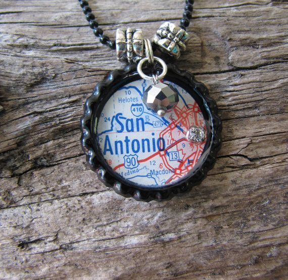 Map Necklace San Antonio Texas State Vintage Map by OwlBeJeweled, $12.50