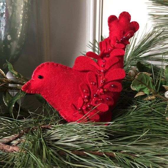 Christmas Cardinal Needlework Kit DIY Craft Wool by FeltOnTheFly
