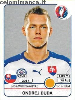 UEFA EURO 2016™ Official Sticker Album: Fronte Figurina n. 227 Ondrej Duda