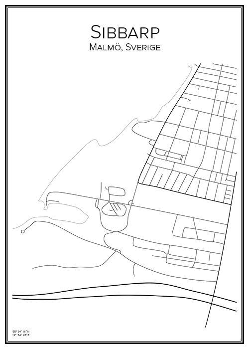 Sibbarp. Malmö kommun. Limhamn. Skåne. Sverige. Map. City print. Print. Affisch. Tavla. Tryck. Stadskarta.