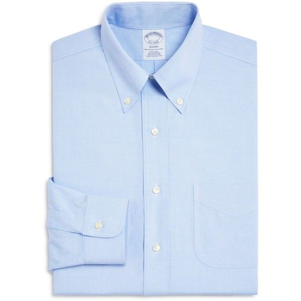 Brooks Brothers Pinpoint Non-Iron Classic Fit Button-Down Dress Shirt ($69) ❤ liked on Polyvore featuring men's fashion, men's clothing, men's shirts, men's dress shirts, blue, mens navy blue button up shirt, wrinkle free mens shirts, non iron men's shirts, no iron mens shirts and mens blue dress shirt