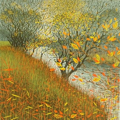 """""""Autumn River bank"""" reduction linocut by Mark Pearce, edition of 42, 40 x 40cm, £365 (framed) http://www.themeregallery.co.uk/mark-pearce/4579448041"""