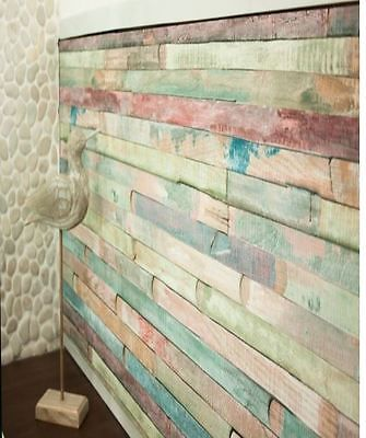 Vintage Colored Wood Self Adhesive Peel Stick Wallpaper