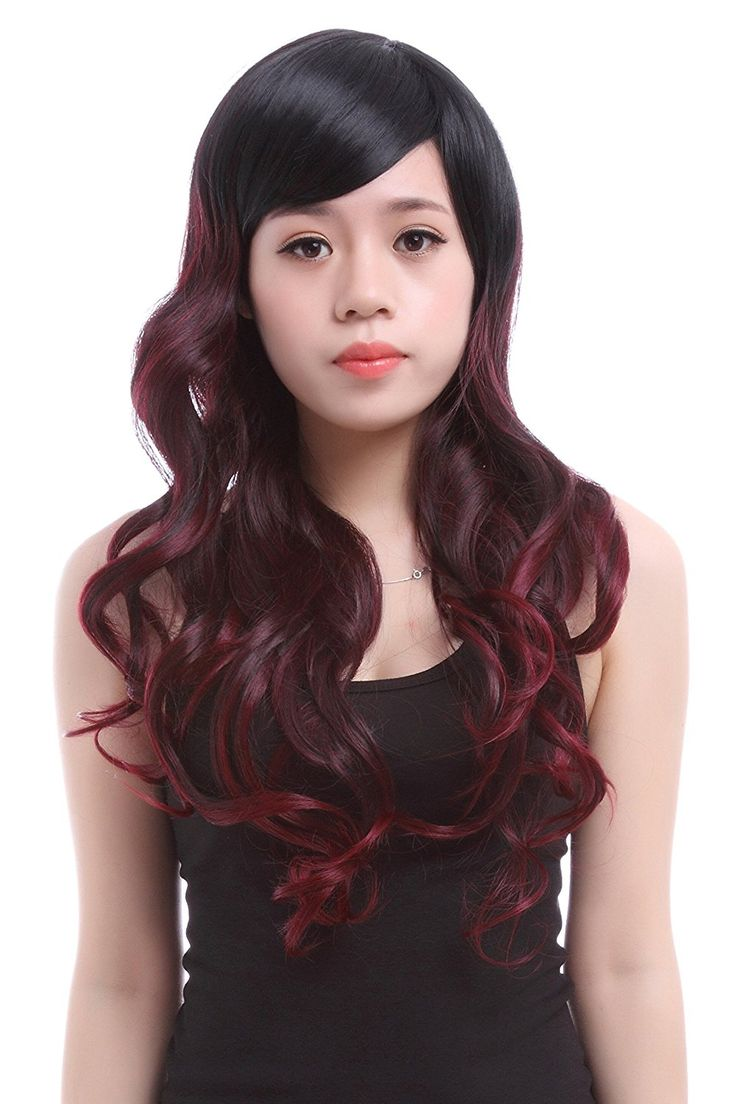 65cm Long Mix Blackwine Red Curly Wave Fashion Cheap Wigs Fl06 ** This is an Amazon Affiliate link. You can find out more details at the link of the image.
