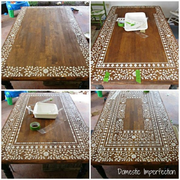 indian inlay stenciled tabletop, home decor, painted furniture, Creating an intricate Indian Inlay stenciled table process photos, DIY, tuscanyish, indian style furniture: