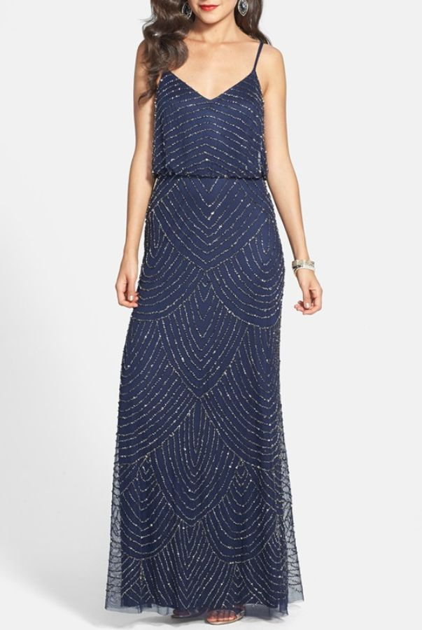 Long bridesmaid dress by ADRIANNA PAPELL Embellished Blouson Gown in Navy Art-Deco $85 only on www.poshare.com Rent: $85 Sale: $159
