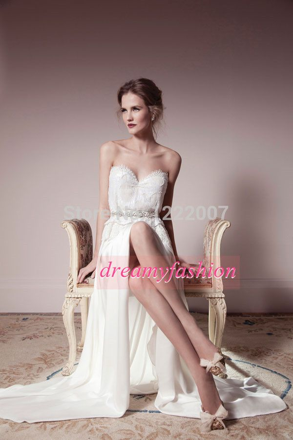 Find More Wedding Dresses Information about 2014 Summer beach Chiffon A line Wedding Dresses Vestidos de noiva Sexy Slit Modest Bride Gowns Cheap casamento On Aliexpress,High Quality Wedding Dresses from Dreamyfashion on Aliexpress.com